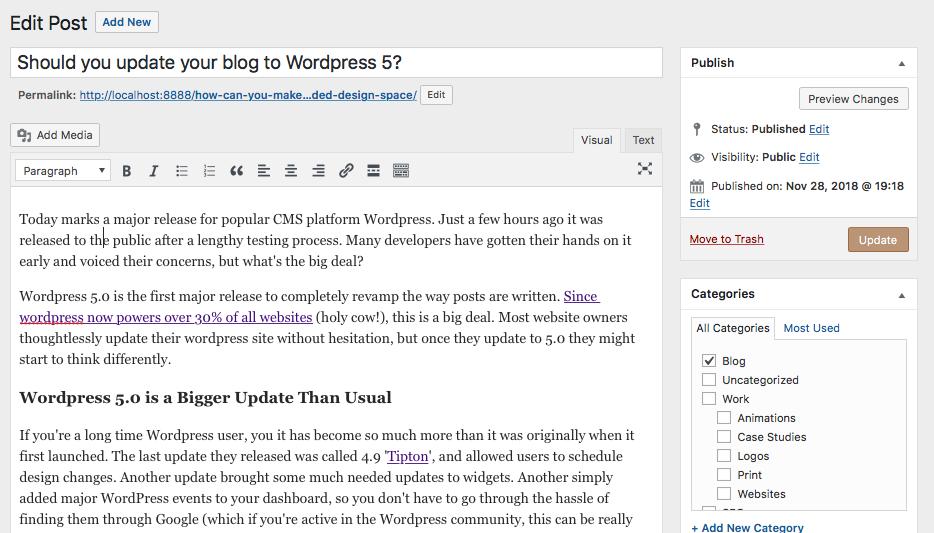 Wordpress Old Post Editor